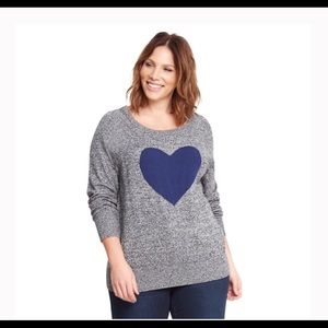 Torrid Gray/Blue Heart Sweater Size 1X